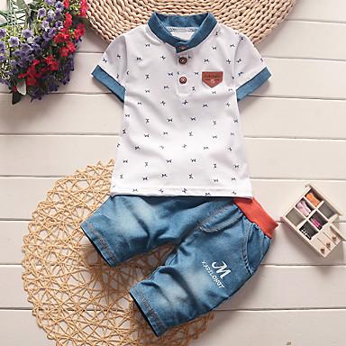 tanie Ubranka dziecięce Chłopięce-Dziecko Dla chłopców Podstawowy Nadruk Krótki rękaw Regularny Regularny Komplet odzieży Biały