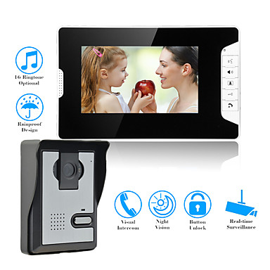 vezetékes 7 hüvelykes kihangosító nélküli 800 * 480 képpont méretű, egy-egy videó ajtótelefon