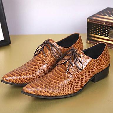 Herre Novelty Shoes Nappa Lær Vår sommer / Høst vinter Vintage / Britisk Oxfords Skli Brun / Fest / aften