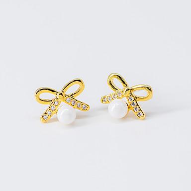 levne Dámské šperky-Dámské Průsvitné Kubický zirkon Peckové náušnice Motýlek Cute Style S925 Sterling Silver Náušnice Šperky Zlatá Pro Vánoce Párty Dar Maturitní ples 1 Pair