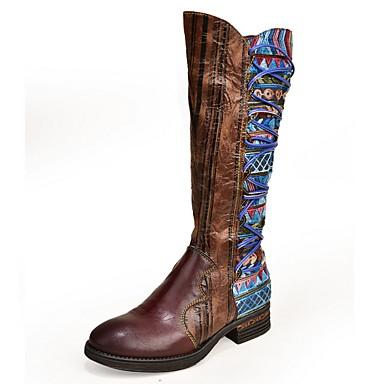 levne Dámská obuv-Dámské Boty Tiskněte boty Rovná podrážka Oblá špička PU Do půli lýtek Podzim zima Hnědá