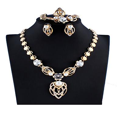 levne Dámské šperky-Dámské Zlatá Svatební šperky Soupravy Link / řetězec Kapka stylové Luxus Napodobenina perel Náušnice Šperky Zlatá Pro Vánoce Svatební Párty Zásnuby Dar 1 sada