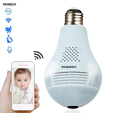 お買い得  家電-inqmega 960pクラウドワイヤレスipカメラ電球ライトパノラマホームセキュリティ監視360度3d vr cctv wifiカメラ