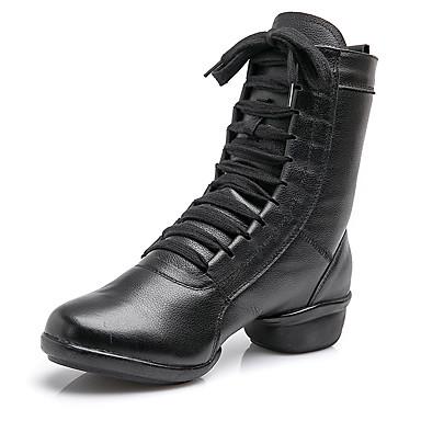 cheap Dance Boots-Women's Dance Shoes Cowhide Dance Boots Splicing Boots Thick Heel Black