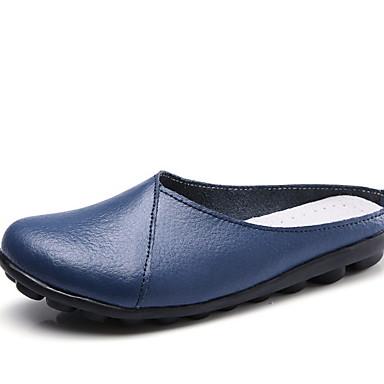 levne Dámské boty s plochou podrážkou-Dámské Bez podpatku Rovná podrážka Oblá špička PU Podzim zima Černá / Světle modrá / Bílá