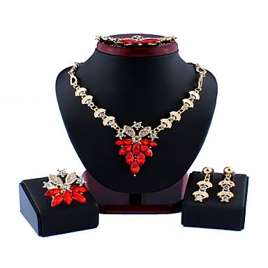 levne Dámské šperky-Dámské Červená Bílá Svatební šperky Soupravy Link / řetězec Kytky stylové Jednoduchý Vintage Pryskyřice Náušnice Šperky Bílá / Červená Pro Vánoce Svatební Párty Zásnuby Dar 1 sada