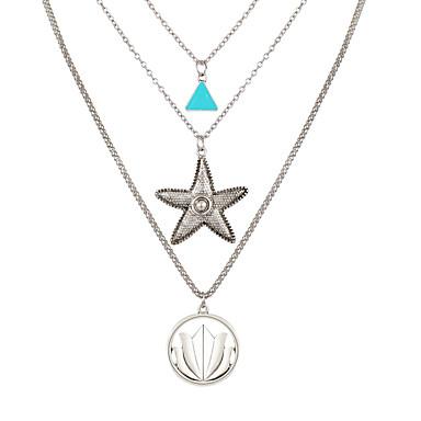 levne Dámské šperky-Dámské vrstvené Náhrdelníky Mořská hvězdice Cikánské Chrome Stříbrná 52 cm Náhrdelníky Šperky Pro Karneval Dovolená Festival
