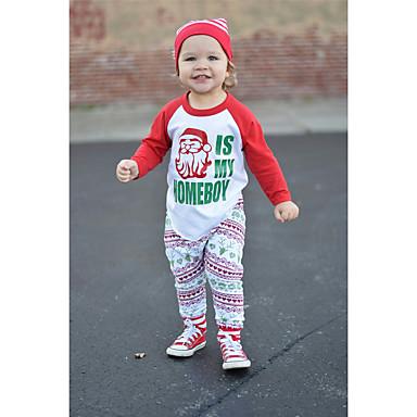 cheap Baby Boys' Clothing Sets-Baby Boys' Casual / Active Santa Claus Print / Solid Colored Print Long Sleeve Long Clothing Set Green