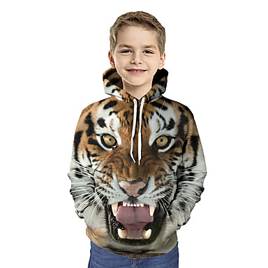 cheap Boys' Hoodies & Sweatshirts-Kids Toddler Boys' Active Basic Tiger Geometric Print Color Block Print Long Sleeve Hoodie & Sweatshirt Brown