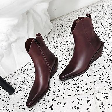levne Dámská obuv-Dámské Boty Cowboy / Western Boots Kačenka Palec do špičky PU Kotníčkové Podzim zima Černá / Tmavěhnědá