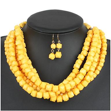 levne Dámské šperky-Dámské Pryskyřice Svatební šperky Soupravy Geometrické Koblihy stylové Náušnice Šperky Oranžová / Žlutá / Námořnická modř Pro Párty Dovolená 1 sada