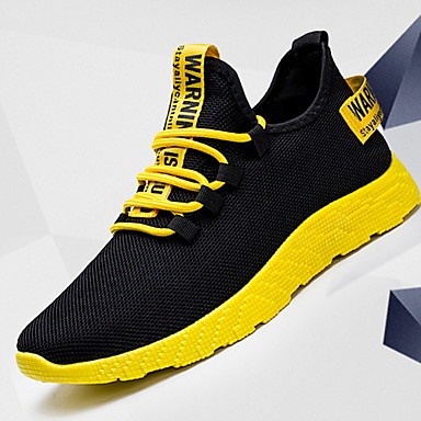 cheap Men's Athletic Shoes-Men's Comfort Shoes Winter Sporty / Casual Athletic Daily Outdoor Trainers / Athletic Shoes Running Shoes Canvas Breathable Non-slipping Shock Absorbing Mid-Calf Boots Yellow / Red / White Color