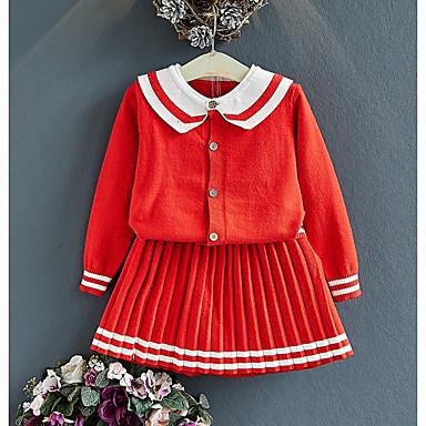 cheap Girls' Clothing Sets-Toddler Girls' Basic Striped Long Sleeve Clothing Set Blushing Pink