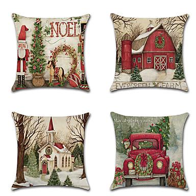 cheap Throw Pillows-4 pcs Linen Pillow Cover, Holiday Graphic Prints Cartoon Christmas Throw Pillow
