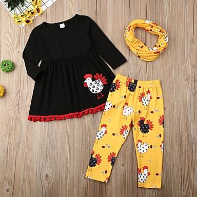 cheap Girls' Clothing Sets-Kids Girls' Basic Print Long Sleeve Clothing Set Black