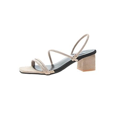 levne Dámské sandály-Dámské Sandály Block Heel Otevřený palec PU / Elastická tkanina Léto Černá / Tmavěhnědá / Tmavě zelená