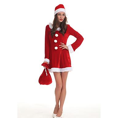 Άγιος Βασίλης Κ. Claus Φορέματα Στολές Γυναικεία Χριστούγεννα Γιορτές / Διακοπές Πολυεστέρας Κόκκινο Γυναικεία Αποκριάτικα Κοστούμια Μονόχρωμο / Φόρεμα / Καπέλο / Περισσότερα Αξεσουάρ / Φόρεμα