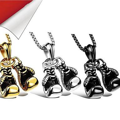 levne Pánské šperky-Pánské Náhrdelníky s přívěšky Boks Eldivenlerİ Punk Chrome Černá Zlatá Stříbrná 60 cm Náhrdelníky Šperky 1ks Pro Denní