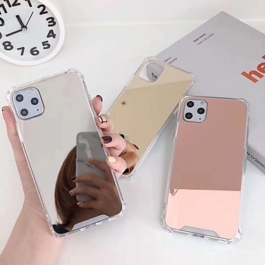 cheap iPhone Cases-Case For Apple iPhone 11 / iPhone 11 Pro / iPhone 11 Pro Max Shockproof / Plating / Mirror Back Cover Solid Colored Acrylic