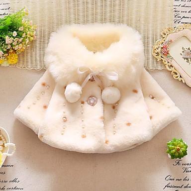 preiswerte Oberbekleidung für Babys-Baby Mädchen Chinoiserie Druck Pelzkragen / mit Schnürung Standard Daunen & Baumwoll gefüttert Weiß