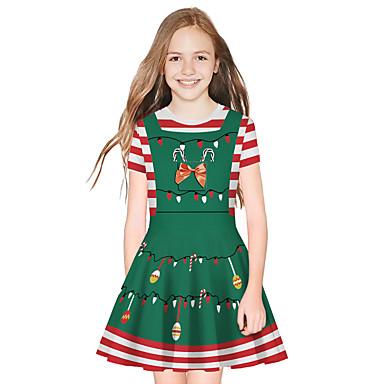 cheap Girls' Dresses-Kids Girls' Active Sweet Santa Claus Christmas Long Sleeve Above Knee Dress Green