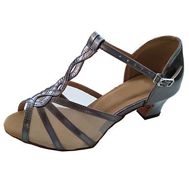 preiswerte Neu Eingetroffen-Damen Tanzschuhe Leder Schuhe für den lateinamerikanischen Tanz Absätze Starke Ferse Maßfertigung Grau