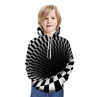 povoljno Najprodavanije-Djeca Dječaci Aktivan Ulični šik Geometrijski oblici 3D Kolaž Print Dugih rukava Trenirka s kapuljačom Crn