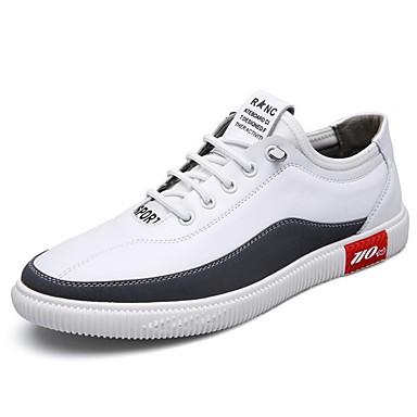preiswerte Herren Turnschuhe-Herrn Komfort Schuhe Leder Herbst Sneakers Weiß
