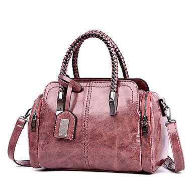 cheap Handbag & Totes-Women's Bags PU Leather Top Handle Bag Rivet Glitter for Daily / Date Black / Blushing Pink / Green / Brown / Fall & Winter