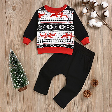 cheap Baby Boys' Clothing Sets-Baby Boys' Street chic Print Long Sleeve Regular Clothing Set Black
