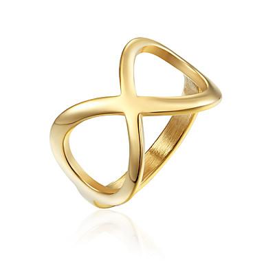 levne Pánské šperky-Pánské Dámské Band Ring Prsten 1ks Zlatá Stříbrná Titanová ocel stylové Základní Casual / Sportovní Dar Denní Šperky Nekonečno