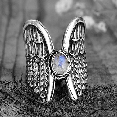 cheap Statement Rings-Men's Women's Band Ring Statement Ring Ring Moonstone 1pc Silver Copper Silver Plated Geometric Vintage Fashion Daily Street Jewelry Vintage Style Wings Precious Cool