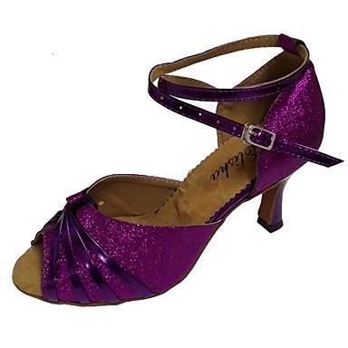 preiswerte Neu Eingetroffen-Damen Tanzschuhe PU Schuhe für den lateinamerikanischen Tanz Glitter Absätze Keilabsatz Maßfertigung Marineblau / Purpur / Gold