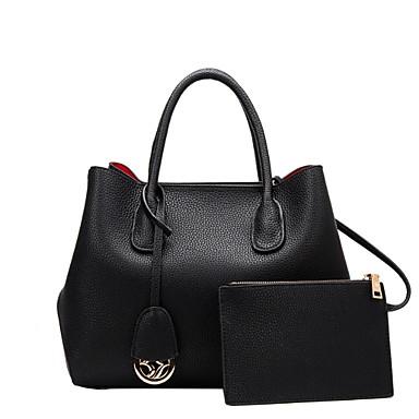 preiswerte Taschensets-Damen Reißverschluss Rindsleder Bag Set Volltonfarbe 2 Stück Geldbörse Set Schwarz / Rote / Grau