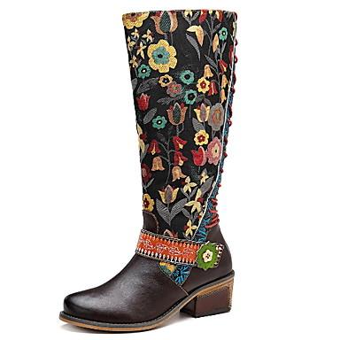 levne Dámská obuv-Dámské Boty Tiskněte boty Nízký podpatek Oblá špička Kůže Do půli lýtek Podzim zima Hnědá