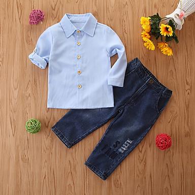 povoljno Odjeća za dječake-Djeca Dječaci Osnovni Jednobojni Dugih rukava Komplet odjeće Svjetloplav