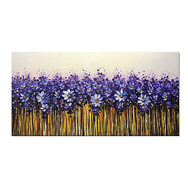 cheap Oil Paintings-Oil Painting Hand Painted - Abstract Floral / Botanical Modern Stretched Canvas
