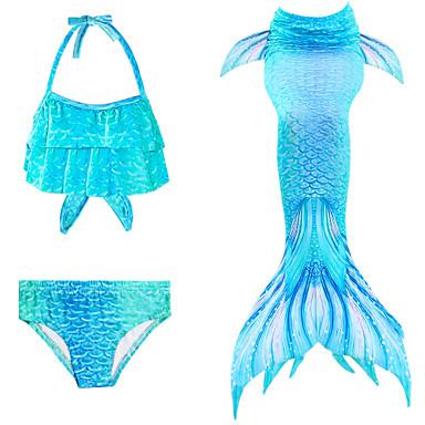 tanie Stroje kąpielowe dla dziewczynek-Dzieci Brzdąc Dla dziewczynek Moda miejska Wyrafinowany styl Syrena Kolorowy blok Tęczowy Wiązanie Bez rękawów Kąpielówki Niebieski