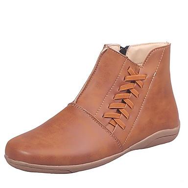 ieftine Ghete de Damă-Pentru femei Cizme Pantofi de confort Toc Drept Vârf rotund PU Cizme / Cizme la Gleznă Iarnă Negru / Maro / Verde