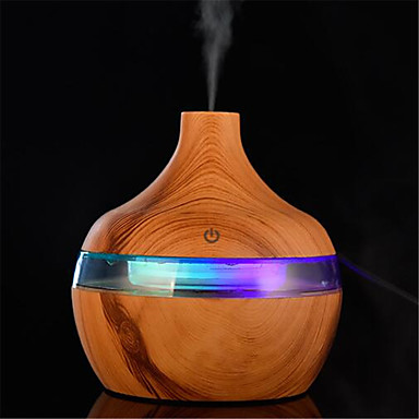 cheap Humidifiers-300ml Electric Humidifier Essential Aroma Oil Diffuser Ultrasonic Wood Grain Air Humidifier USB Mini Mist Maker LED Light For