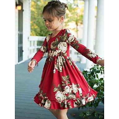 baratos Vestidos para Bebês-bebê Para Meninas Activo Vermelho Estampado Estampado Manga Longa Vestido Vermelho