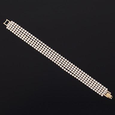 levne Dámské šperky-Dámské Náramek Vícevrstvé Princezna Jednoduchý Luxus Evropský Módní Elegantní Štras Náramek šperky Zlatá Pro Svatební Párty Zásnuby Dar Denní