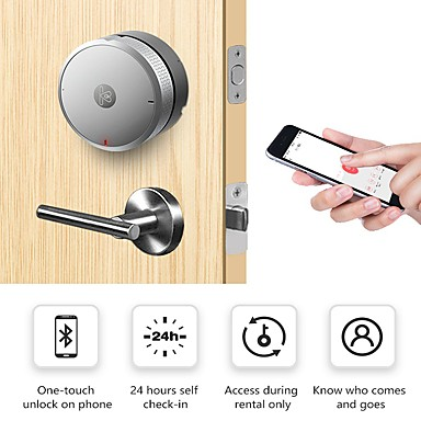 cheap Consumer Electronics-Airbnk M300 Smart Door Lock (Electronic Deadbolt Lock) Keyless Entry Smart Bluetooth Home Security Lock Work with iOS & Android Easy to Install (Silver No Battery Include)