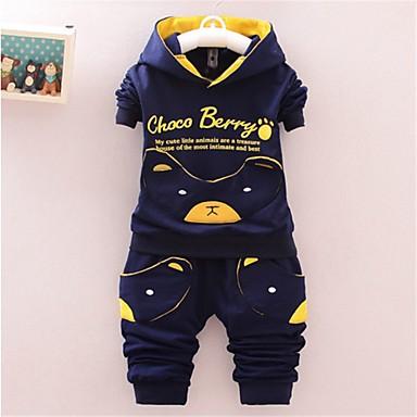 cheap Baby & Toddler Boy-Baby Boys' Basic Print Print Long Sleeve Long Long Clothing Set Navy Blue