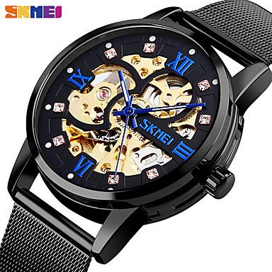 levne Pánské-SKMEI Inteligentní hodinky Automatické natahování Moderní styl Sportovní 30 m Voděodolné S dutým gravírováním Hodinky na běžné nošení Analogové Na běžné nošení Módní - Černá Zlatá Růžové zlato