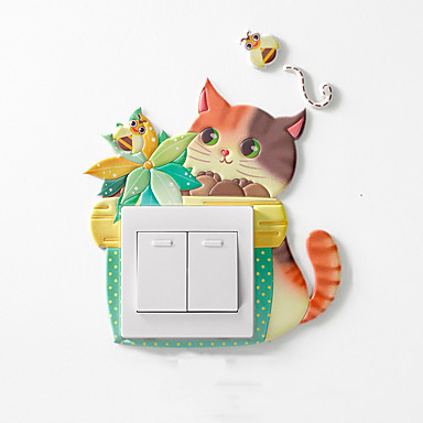 1db állati rajzfilm szoba dekoráció 3d fali szilikon be- és kikapcsoló kapcsoló világító fénykapcsoló kimeneti fali matrica