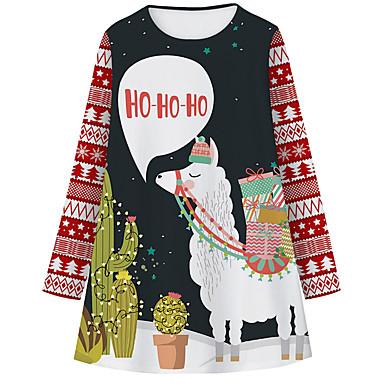 cheap Girls' Dresses-Kids Girls' Basic Cute Animal Letter Christmas Print Long Sleeve Knee-length Dress Black