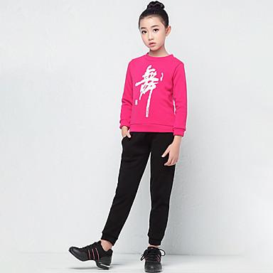 preiswerte Tanzkleider & Tanzschuhe-Tanzkleidung für Kinder Austattungen Mädchen Training / Leistung Baumwollmischung / Flanell Muster / Druck Langarm Normal Top / Hosen