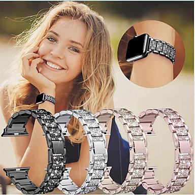 baratos Novidades-pulseira de pulseira de diamante de aço inoxidável para apple watch series 5 4 3 2 1