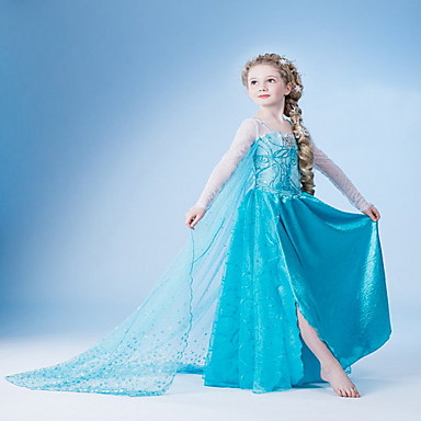 cheap Girls' Clothing-Kids Girls' Solid Colored Dress Light Blue